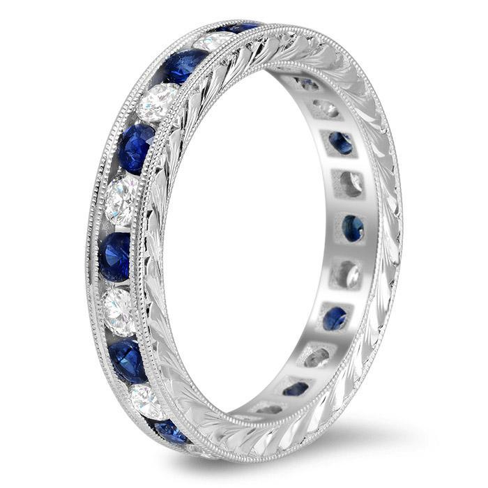 Hand-Engraved Colored Stone and Diamond Eternity Band Gemstone Eternity Rings deBebians