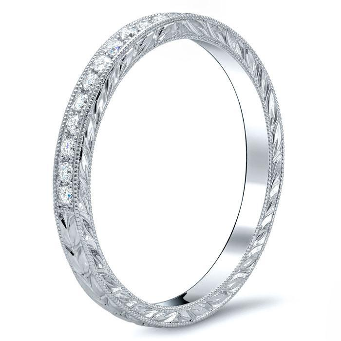 Hand Engraved Half Eternity with Milgrain Half Eternity Rings deBebians