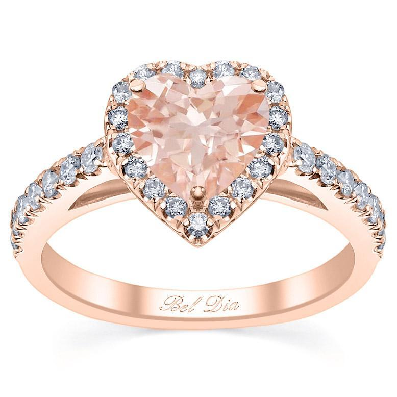 Heart Cut Morganite Engagement Ring in Rose Gold