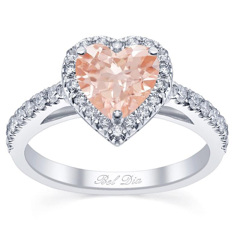 Heart Cut Morganite Engagement Ring in Rose Gold Rose Gold & Morganite Engagement Rings deBebians