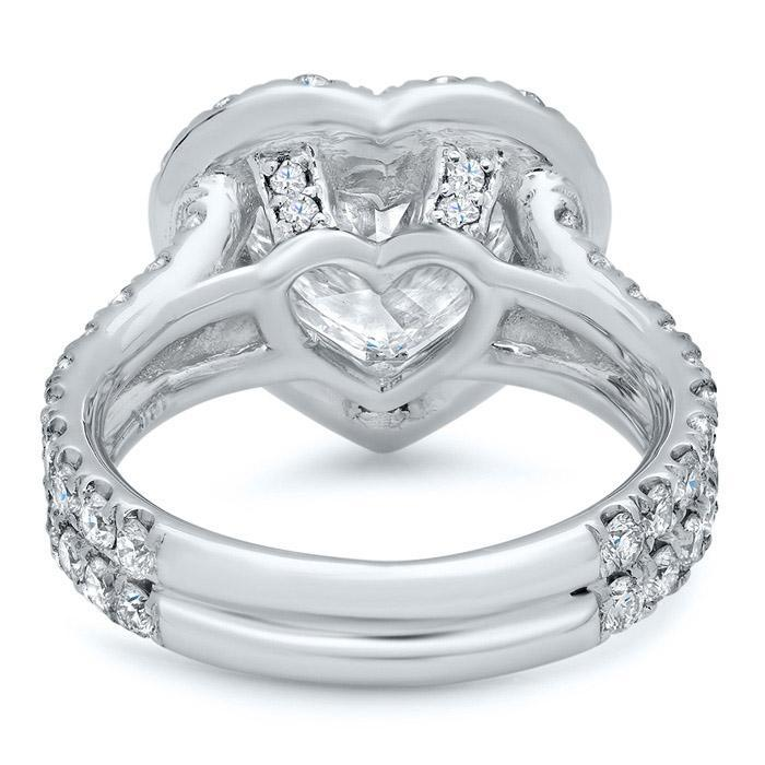 Heart Halo Engagement Ring with Double Shank Halo Engagement Rings deBebians