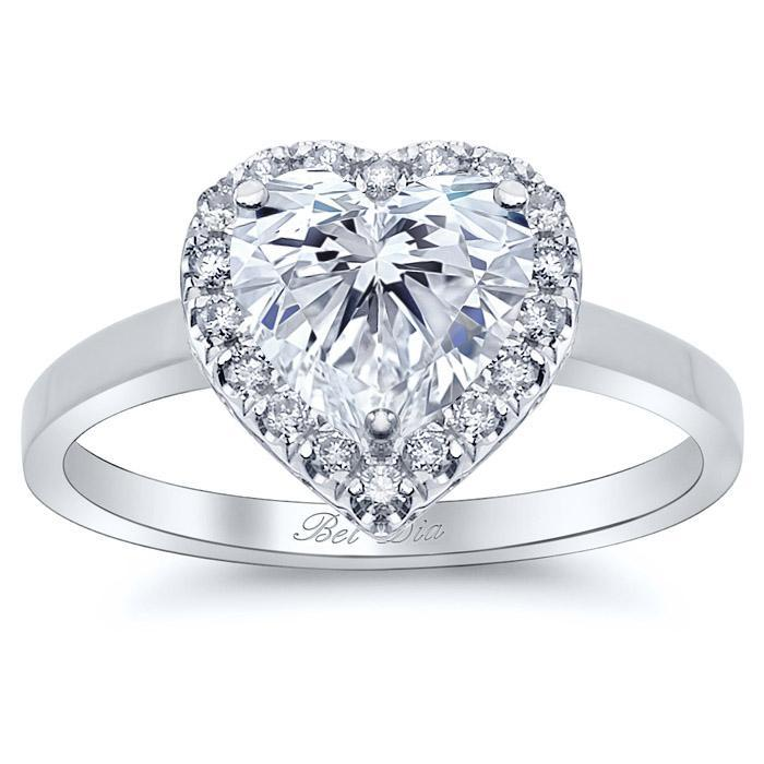 Heart Halo Engagement Ring with Plain Band