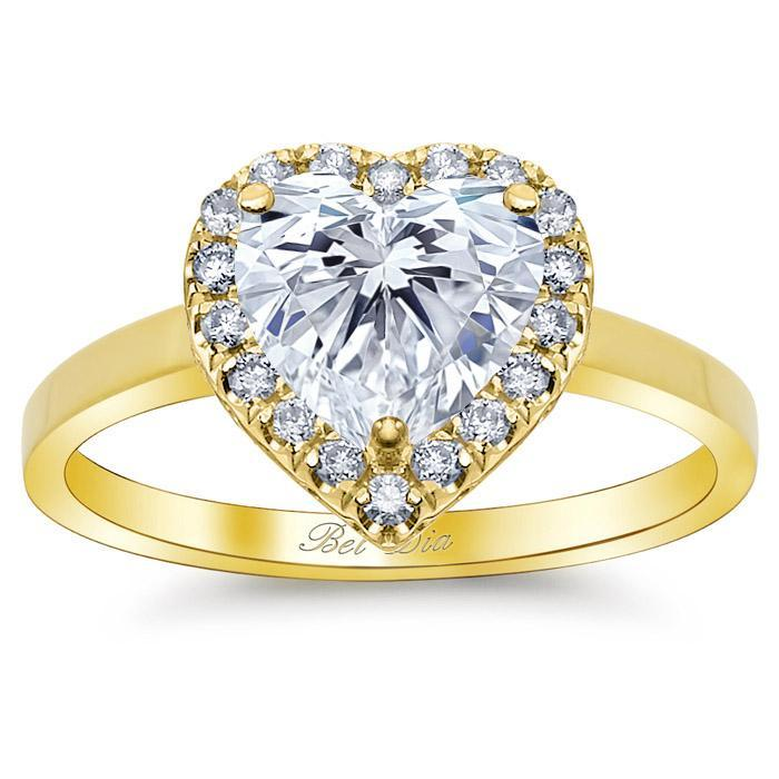 Heart Halo Engagement Ring with Plain Band Halo Engagement Rings deBebians
