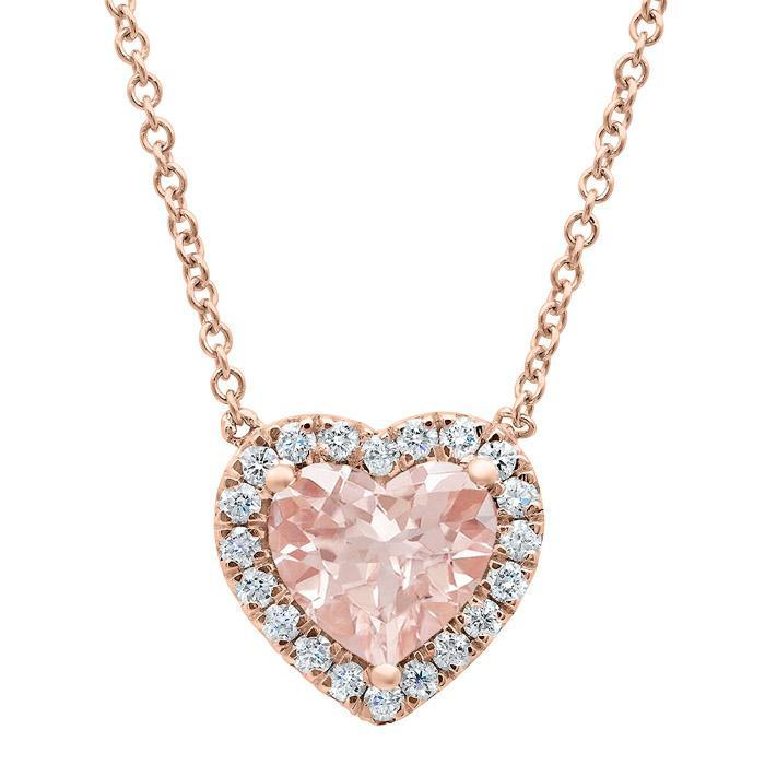 Heart Morganite Halo Pendant Diamond Necklaces deBebians
