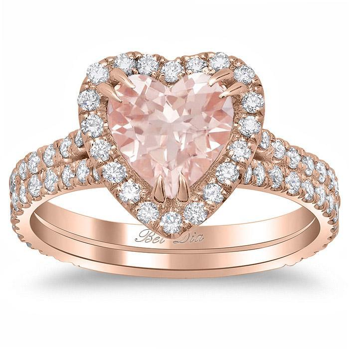 Heart Shaped Morganite Double Shank Engagement Ring Rose Gold & Morganite Engagement Rings deBebians