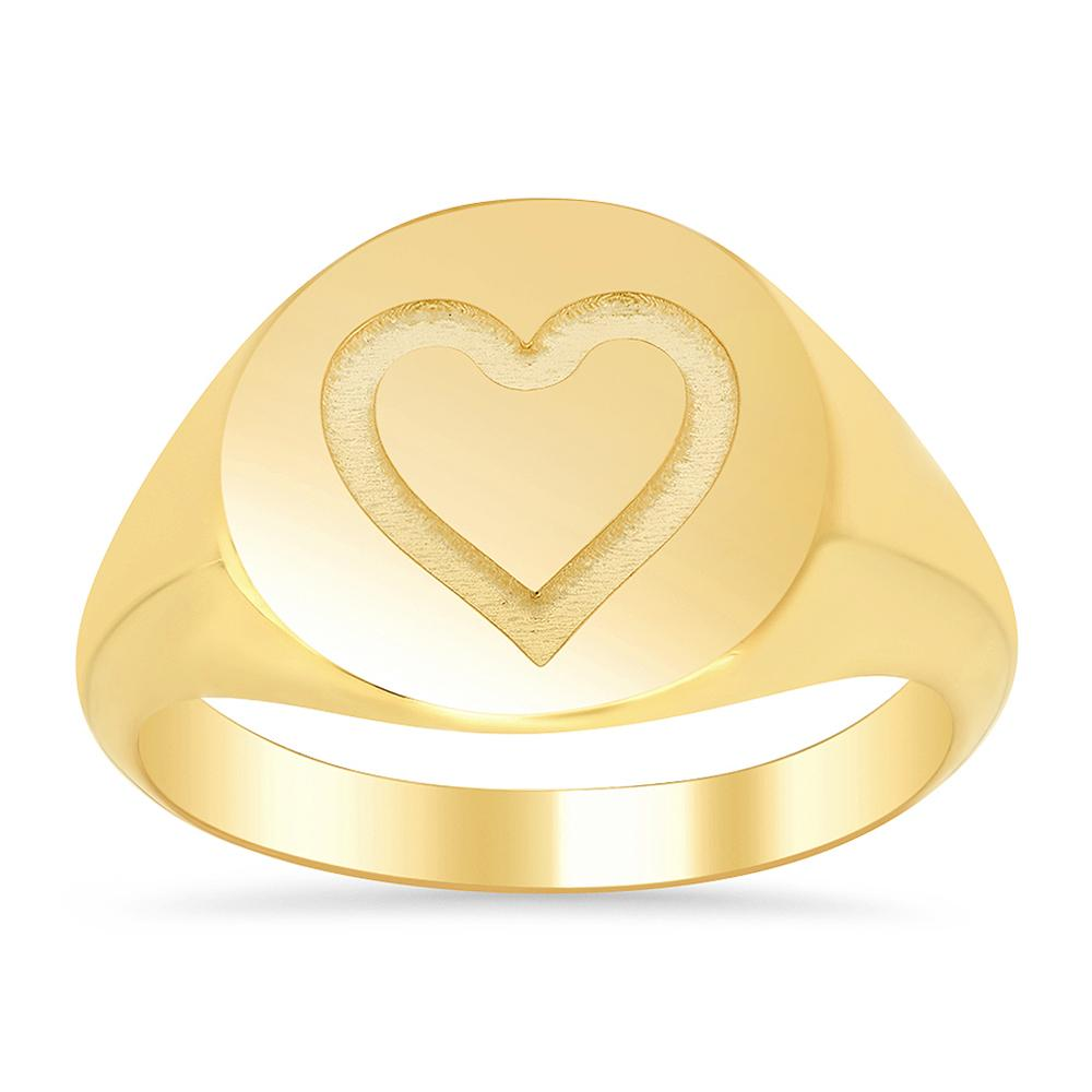 Heart Round Ladies Signet Ring Signet Rings deBebians