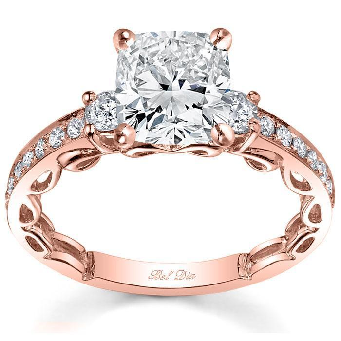 Three Stone Engagement Ring Setting with Diamond Band Diamond Accented Engagement Rings deBebians