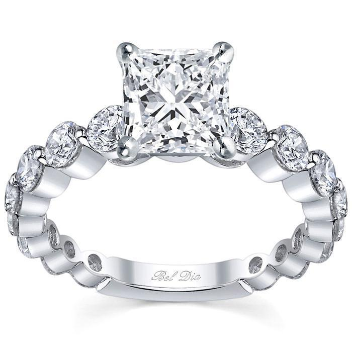Single Prong Ladies Engagement Ring Round Diamonds Diamond Accented Engagement Rings deBebians