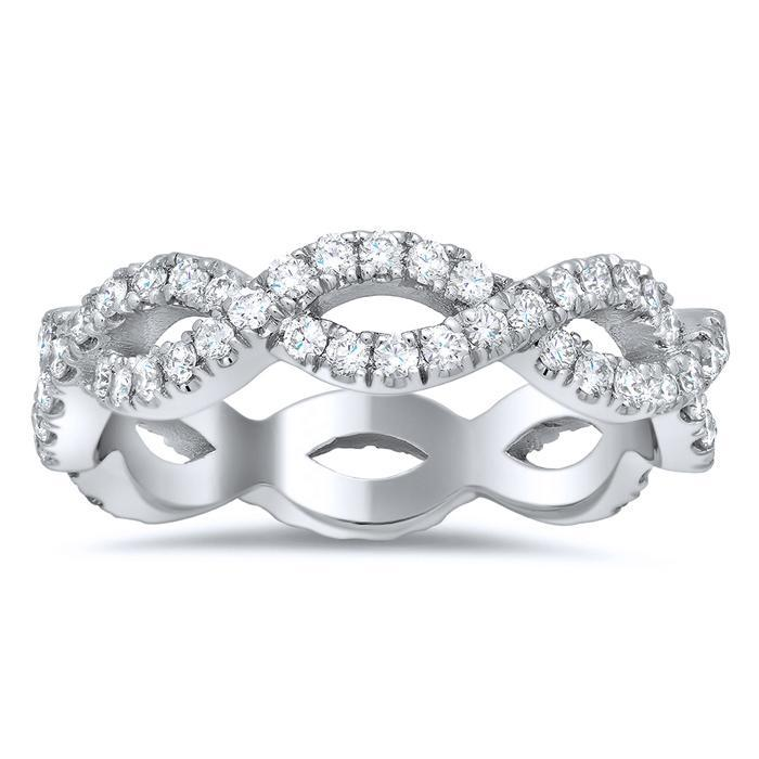 Round Two Row Pave Set Diamond Eternity Ring - 1.00 carat Diamond Eternity Rings deBebians