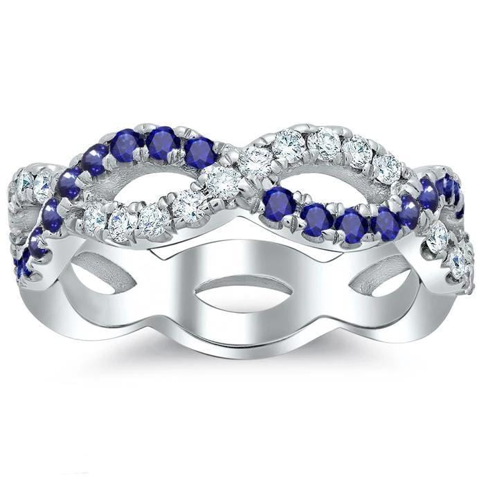 Infinity Sapphire and Diamond Wedding Ring