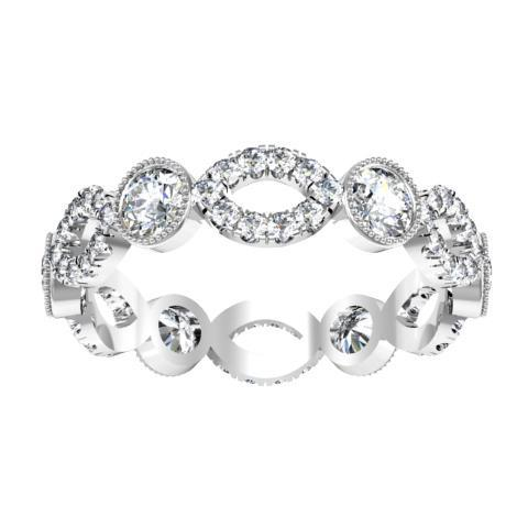 Round Brilliant Cut Bezel & Pave Set Diamond Eternity Ring - 1.15 carat Diamond Eternity Rings deBebians