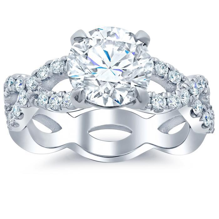 Infinity Style Diamond Accented Engagement Ring Diamond Accented Engagement Rings deBebians