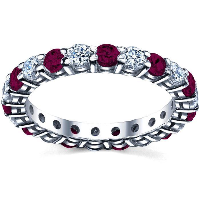 January Birth Stone Eternity Ring with Diamonds and Garnets Gemstone Eternity Rings deBebians