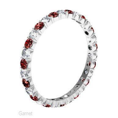 January Birthstone Eternity Band with Round Diamonds and Garnets Gemstone Eternity Rings deBebians