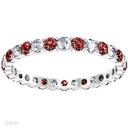January Birthstone Eternity Ring with Round Garnets and Diamonds Gemstone Eternity Rings deBebians
