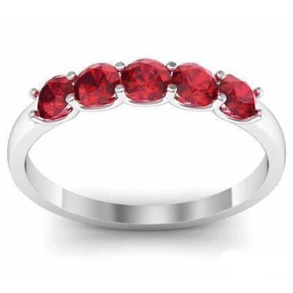 0.50cttw U Prong Ruby Five Stone Band Five Stone Rings deBebians