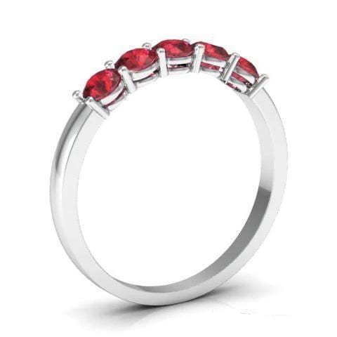0.50cttw Shared Prong Ruby Five Stone Ring Five Stone Rings deBebians
