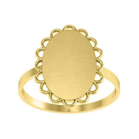 Pretty Scalloped Edge Oval Signet Ring Signet Rings deBebians