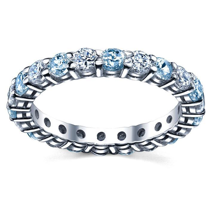 March Birth Stone Eternity Ring with Diamonds and Aquamarines Gemstone Eternity Rings deBebians