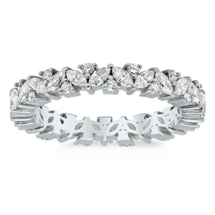 Three Row Open Ladies Diamond Eternity Wedding Band