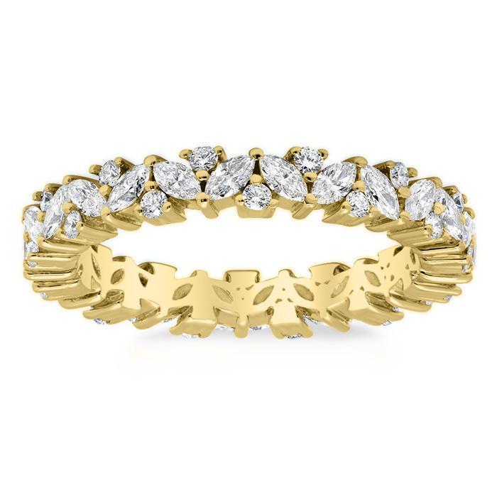 Marquise and Round Diamond Laurel Eternity Ring Diamond Eternity Rings deBebians