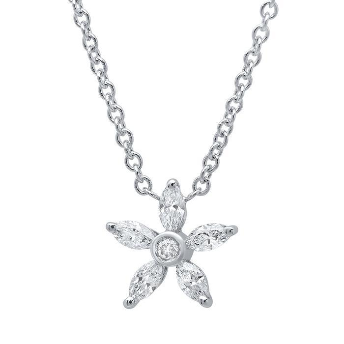 Marquise Diamond Flower Pendant Necklace Diamond Necklaces deBebians