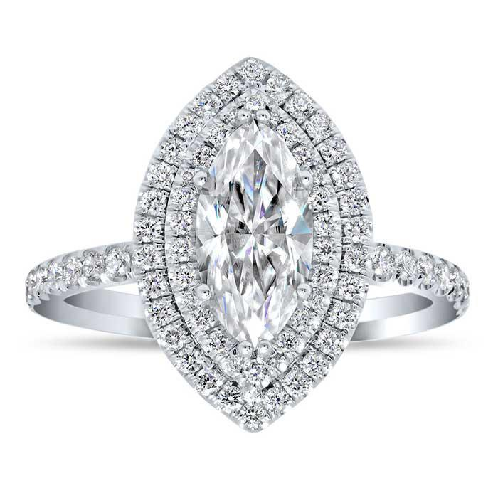 Marquise Double Halo Engagement Ring Double Halo Engagement Rings deBebians