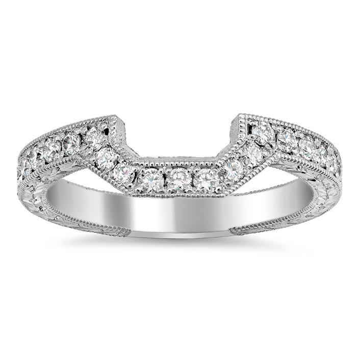 Matching Hand Engraved Diamond Wedding Ring Half Eternity Rings deBebians