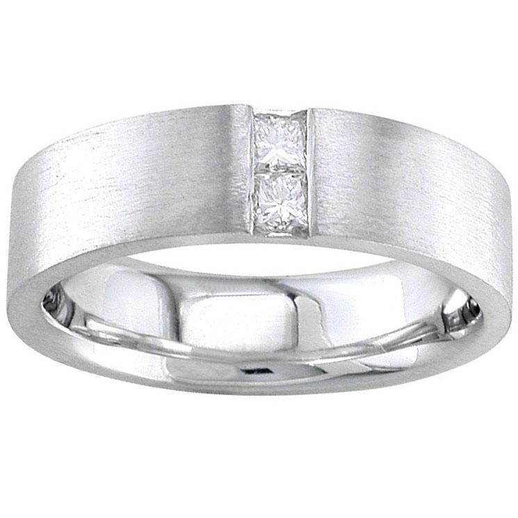 Mens Wedding Ring with Princess Cut Diamonds Men's Diamond Wedding Rings deBebians