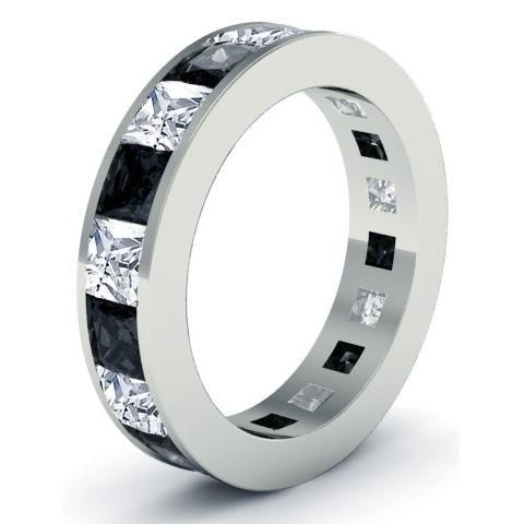 Men's Black and White Diamond Eternity Ring Men's Diamond Wedding Rings deBebians