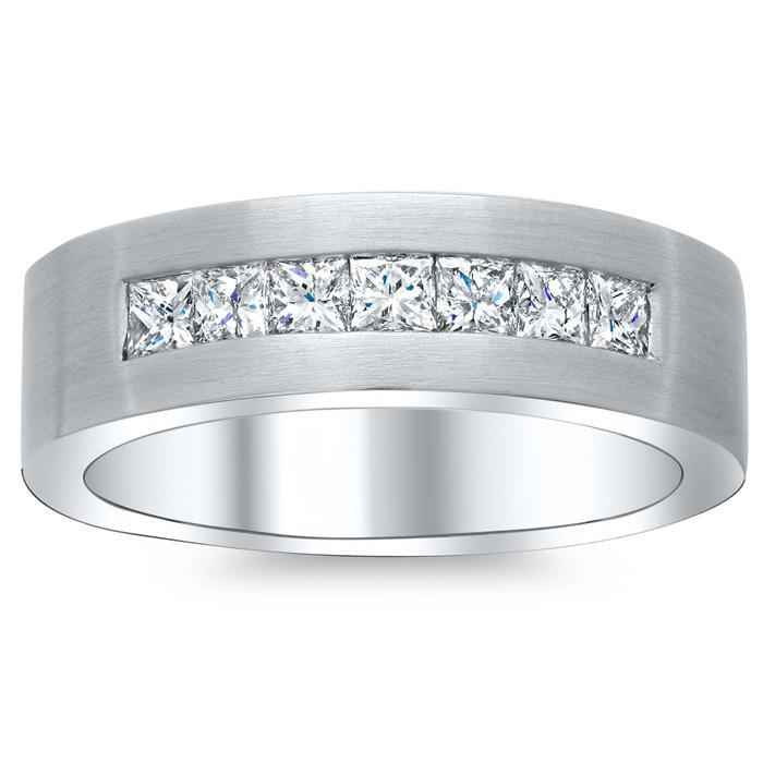 Men's Princess Diamond Ring with Brushed Finish Men's Diamond Wedding Rings deBebians