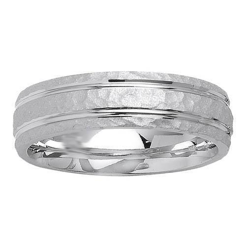 6mm Hammered Finish Mens Ring Unique Wedding Rings deBebians