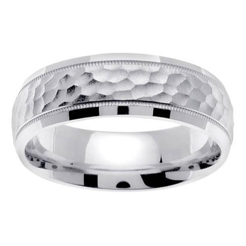White Gold 7mm Hammered Mens Ring Handmade Wedding Rings deBebians