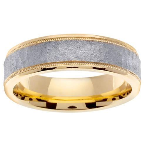 Yellow Gold Mens Handmade Ring with White Hammered Center Handmade Wedding Rings deBebians