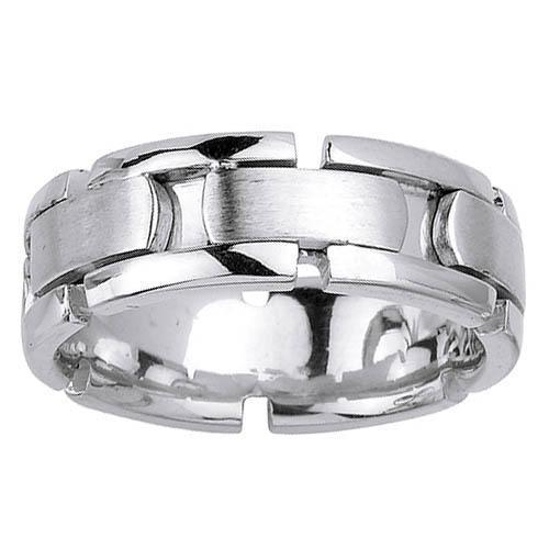 White Gold Mens Wedding Ring with Handmade Design in 8mm Handmade Wedding Rings deBebians