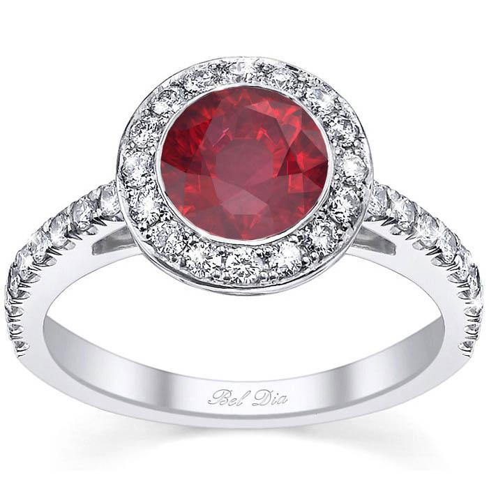 Micro Pave Halo Engagement Ring with Ruby Ruby Engagement Rings deBebians