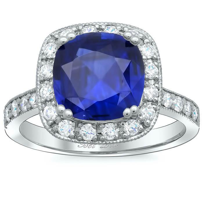 Milgrained Cushion Halo Engagement Ring for Blue Sapphire