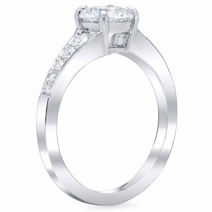 Milgrained Diamond Engagement Ring Setting Diamond Accented Engagement Rings deBebians