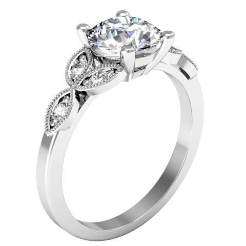 Milgrained Leaf Engagement Ring Diamond Accented Engagement Rings deBebians