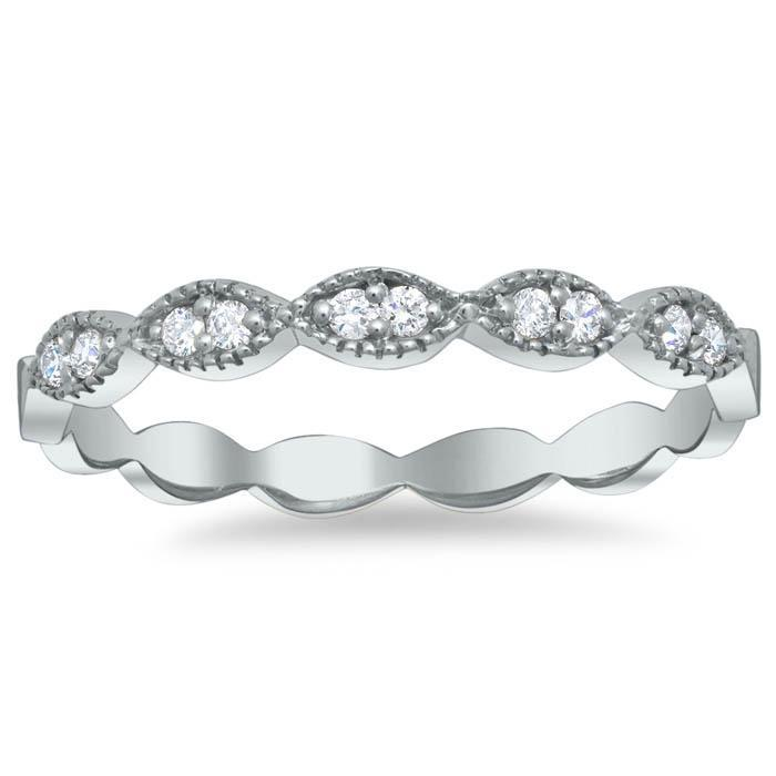 Milgrained Round and Marquise Scalloped Wedding Ring with Round Diamonds