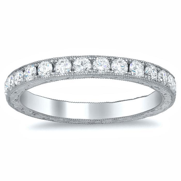 Round Micro Pave Milgrain Diamond Eternity Band - 0.85 carat Diamond Eternity Rings deBebians
