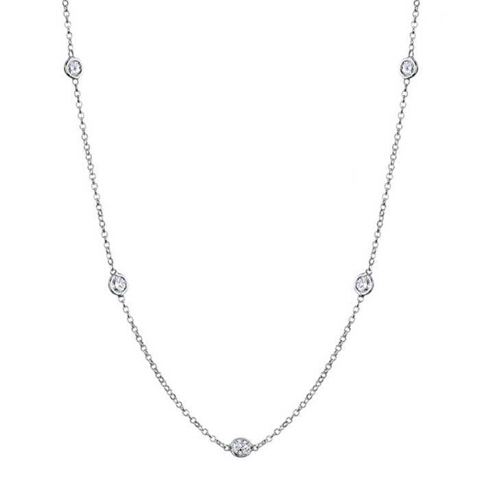 Moissianite Station Necklace with 4mm Forever One Moissanite Necklaces deBebians