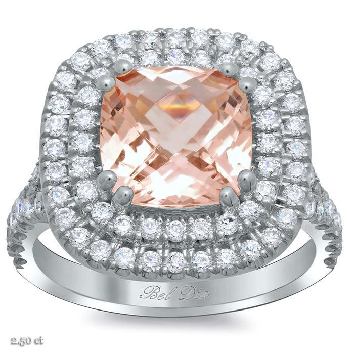 Morganite Baby Split Double Halo Engagement Ring