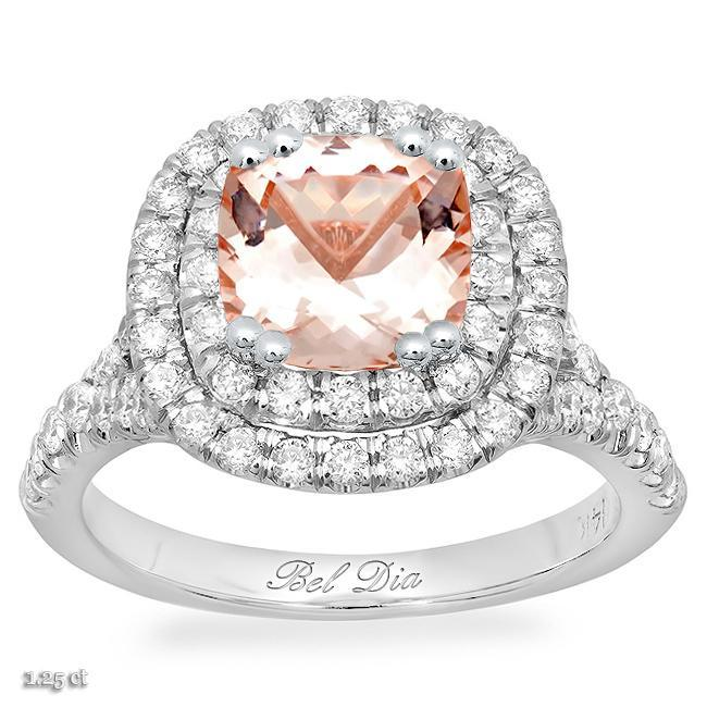 Morganite Baby Split Double Halo Engagement Ring Rose Gold & Morganite Engagement Rings deBebians