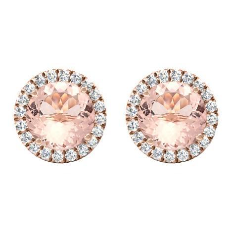 Morganite Diamond Halo Stud Earrings Diamond Halo Earrings deBebians