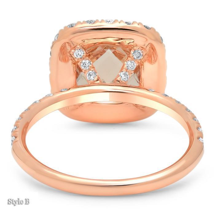 Cushion Morganite Halo Rose Gold Engagement Ring Rose Gold & Morganite Engagement Rings deBebians
