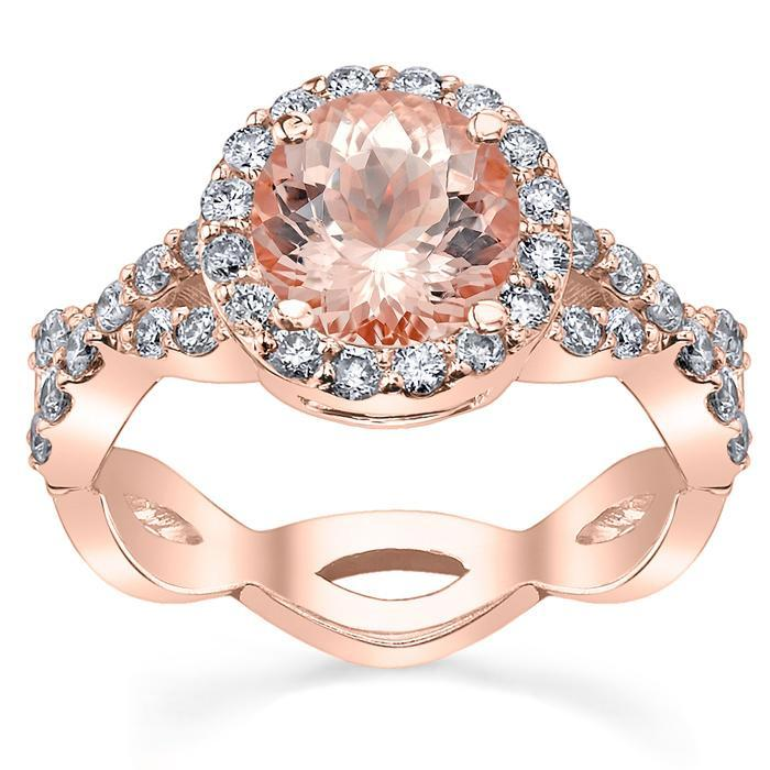 Morganite Infinity Engagement Ring in Rose Gold Rose Gold & Morganite Engagement Rings deBebians