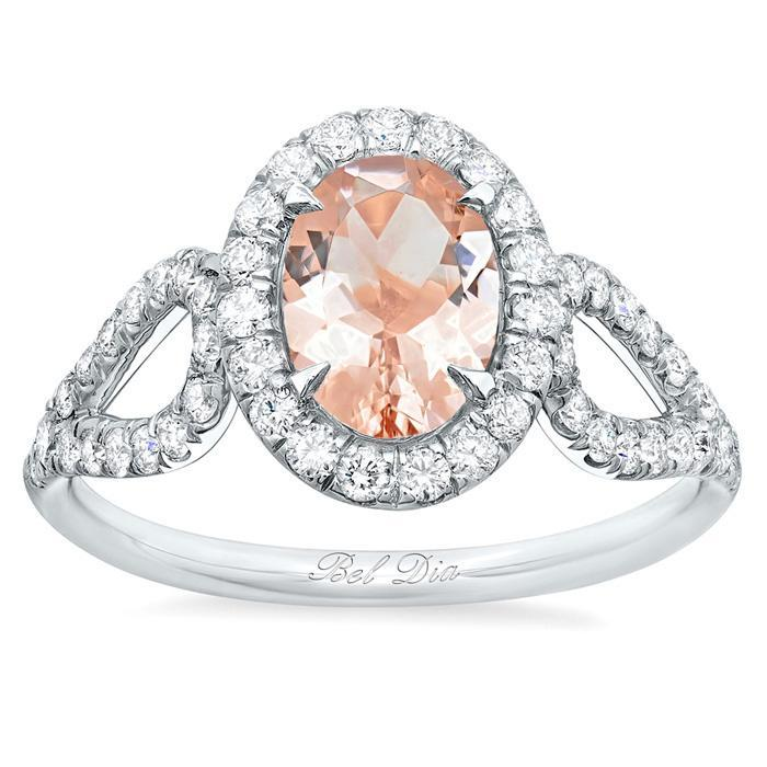 Morganite Looped Shank Oval Halo Engagement Ring Rose Gold & Morganite Engagement Rings deBebians