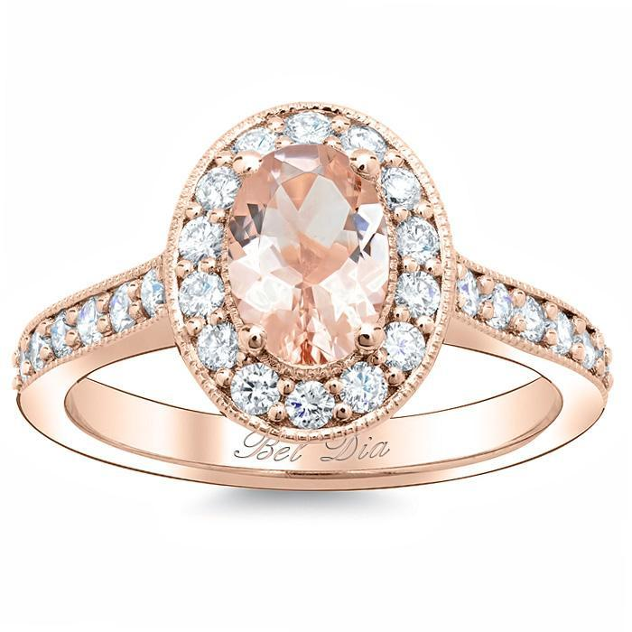 Morganite Oval Pave Halo Engagement Ring Rose Gold & Morganite Engagement Rings deBebians