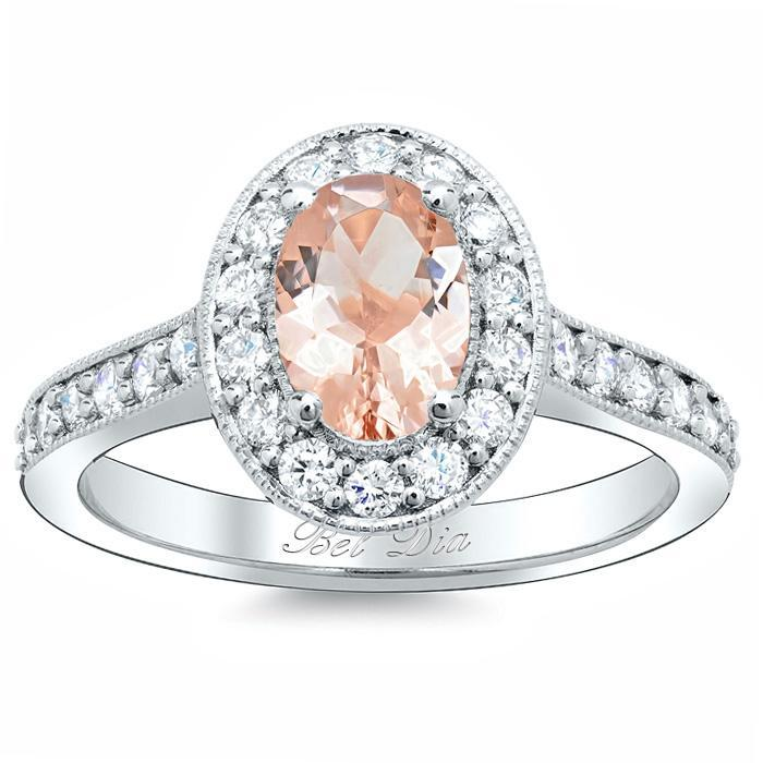 Morganite Oval Pave Halo Engagement Ring
